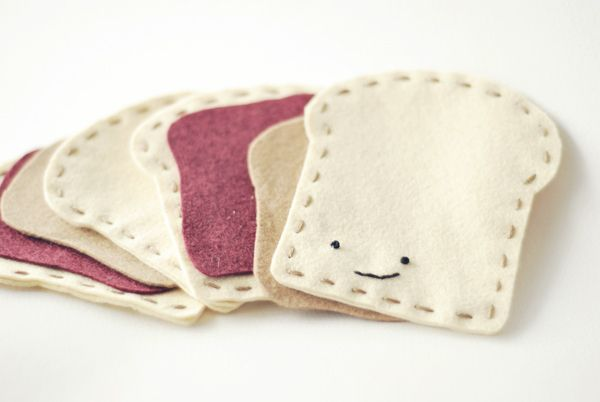 adorable peanut butter and jelly game made of felt by wild olive