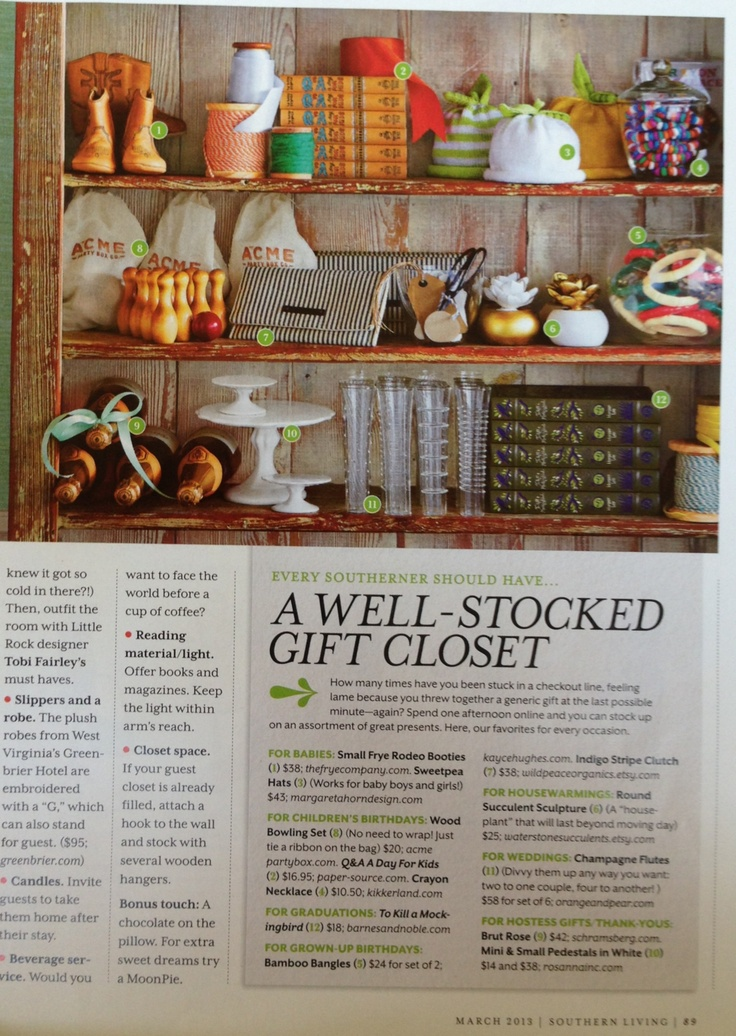 Keep A Well Stocked Gift Closet From Southern Living
