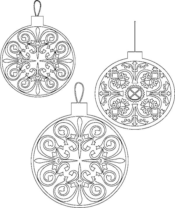 Three Interesting Chritsmas Ornament And Unique Coloring Page