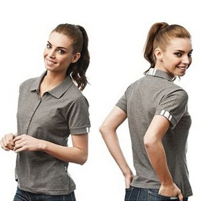 Soft Pique Knit Designed Ladies Polo Min 25 - This Polo Features a Unique And Subtle Trim On The Cuff And Collar in a 60/40 Cotton Kooldri Poly Blend Fabric. http://www.promosxchange.com.au/soft-pique-knit-designed-ladies-polo/p-9363.html