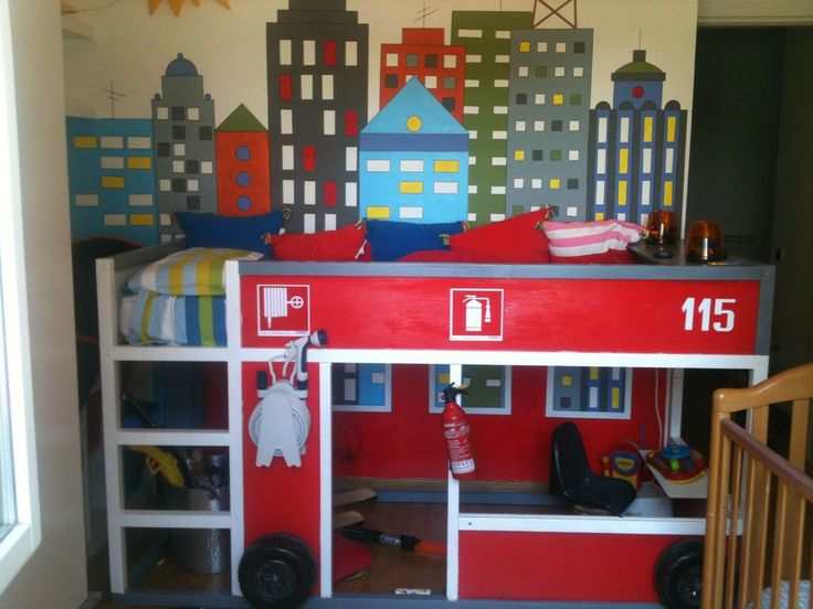IKEA Hackers: Kura Firetruck bed.  This is AWESOME -- this shows you how to turn an IKEA Kura loft bed (which will cost you only 199 buckaroos) into a FIRETRUCK bed for your littlest aspiring firefighter!