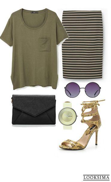 """Милитари, сафари и спорт - все в одном образе. """"Защитный"""" зелёный цвет, женственный силуэт юбки и босоножки со змеиным принтом отлично работают вместе.   Образ можно купить здесь:  http://looksima.ru/look/41467  #looksimaFashion #style #instalook #lookoftheday #модныйобраз #стиль"""