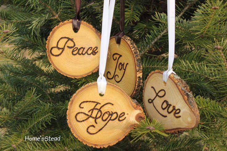 Rustic Country Christmas Ornament Set of 4 Hope, Love, Peace, Joy Primitive Holiday Home Decor Tree. $32.00, via Etsy.