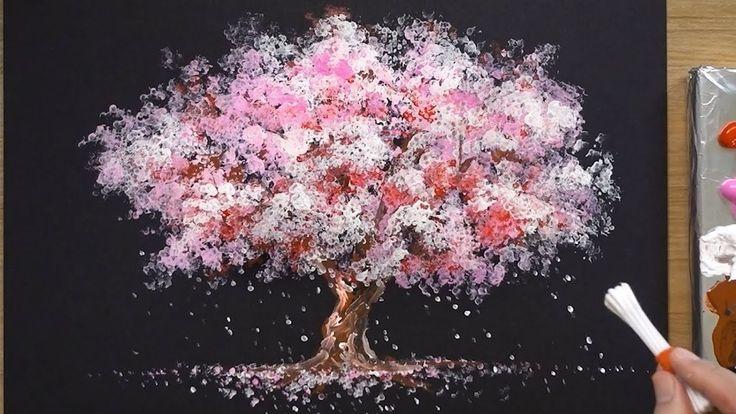 How to Paint a Cherry Tree in Acrylic – Sakura Q-tip Painting Techniques – Kunstprojekt