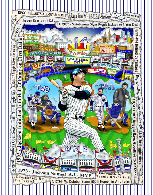 Charles Fazzino 3D Art Charles Fazzino Limited Edition 3-Dimensional Serigraph Mr. October: Reggie Jackson! - DX