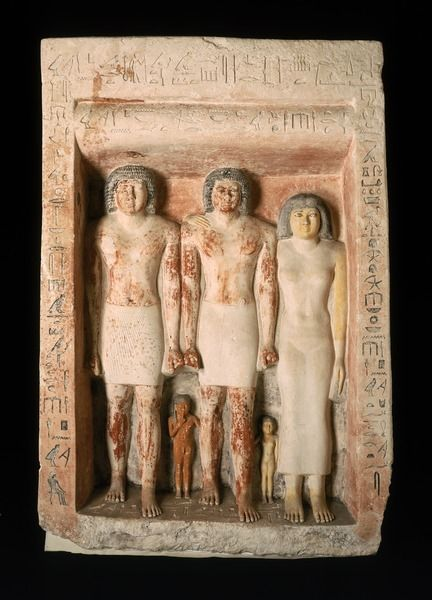 Pseudo-group limestone statue of Penmeru from Giza.Old Kingdom,5th Dynasty c.a. 2465-2323 B.C.