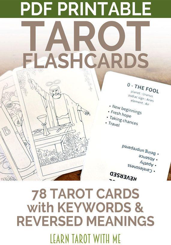 Printable PDF Tarot Deck Flashcards  All 78 by LearnTarotWithMe