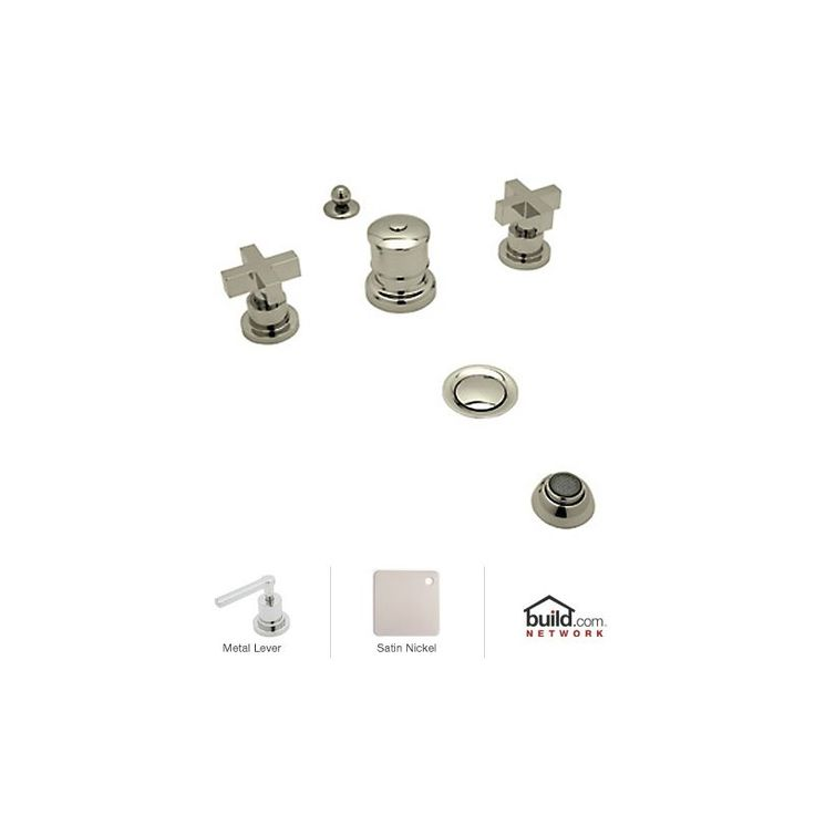 Rohl BA595X Modern Widespread Bidet Faucet with Metal Cross Handles Satin Nickel Faucet Bidet Vertical Spray