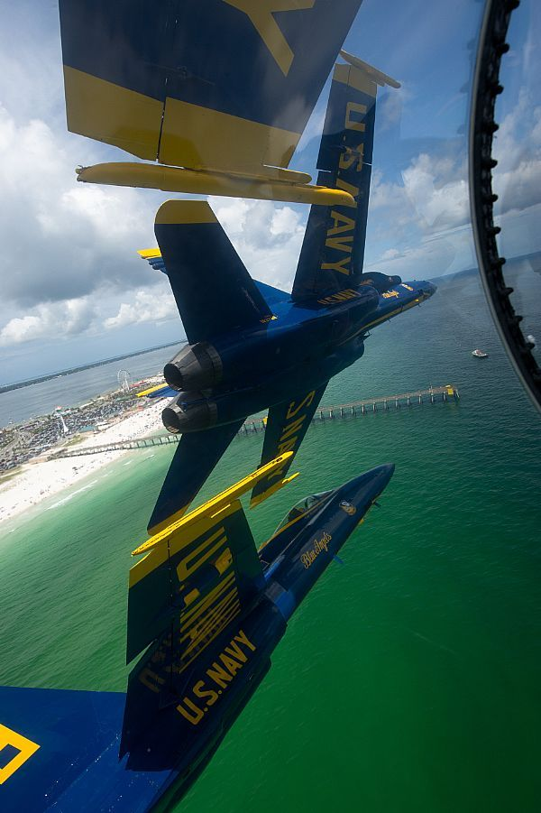 The U.S. Navy flight demonstration squadron, the Blue Angels,