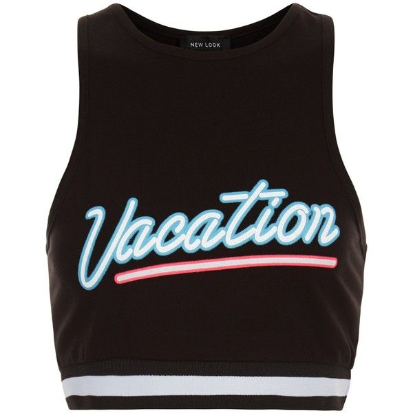 New Look Black Vacation Stripe Hem Crop Top (1.590 ISK) ❤ liked on Polyvore featuring tops, shirts, crop top, tank tops, black, shirt tops, striped top, striped shirt and shirt crop top