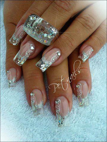 Clear nails and sparkling nail art  #elegant #bridal #nail design #ice