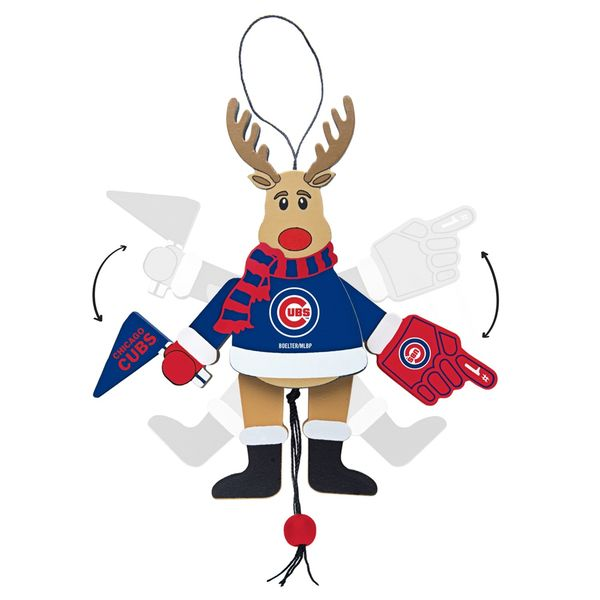 Chicago Cubs Wooden Cheering Reindeer Ornament  #ChicagoCubs #Cubs #FlyTheW #MLB #ThatsCub