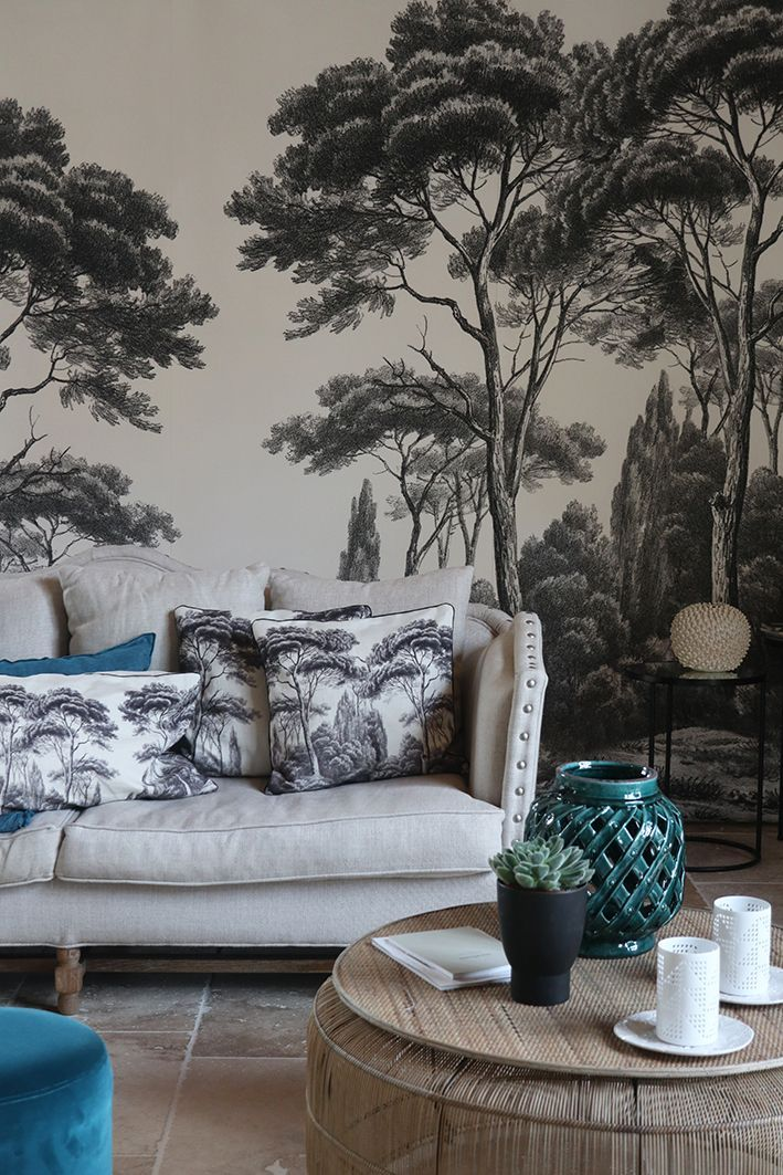Panoramic Wallpaper Pines And Cypress Black And White Ananbo Ananbo Black Cypress Panora Papier Peint Panoramique Papier Peint Decoration Murale Chambre
