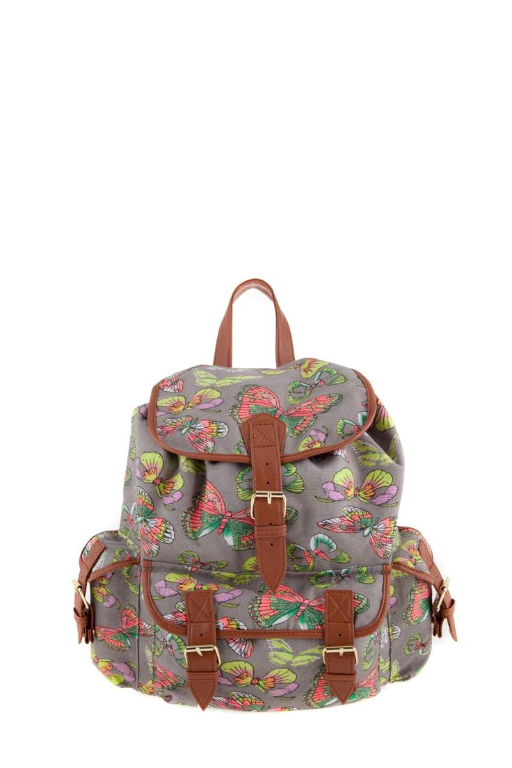 1534106822, L.GREY, Butterfly print backpack ,Butterfly print σακίδιο