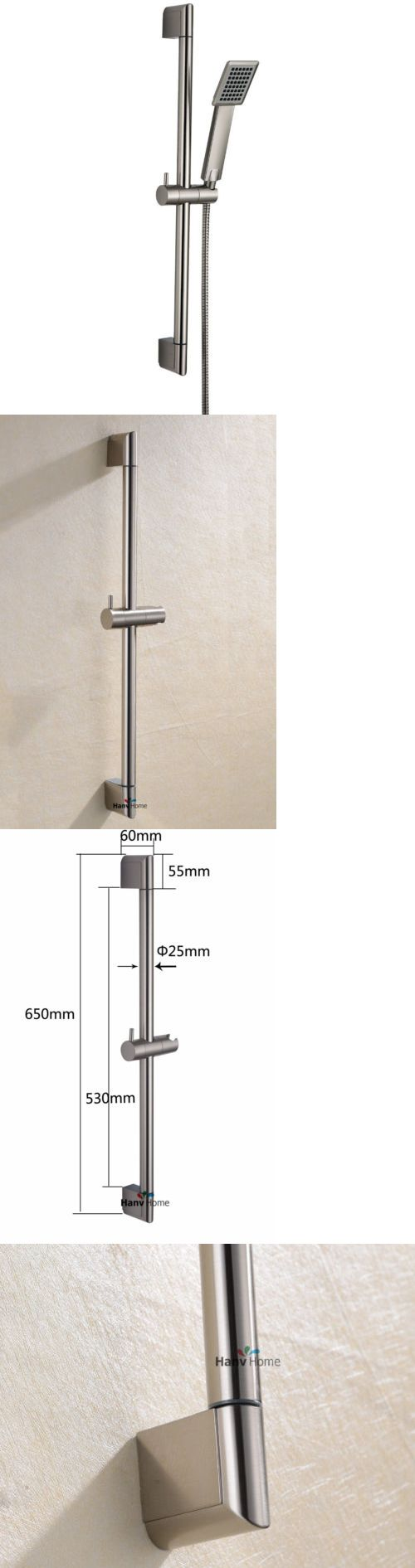 Shower Heads 71282: New Shower Riser Rail Sliding Bar And Shower Head And 1.5M Hose Set Brushed Nickel -> BUY IT NOW ONLY: $38.55 on eBay!