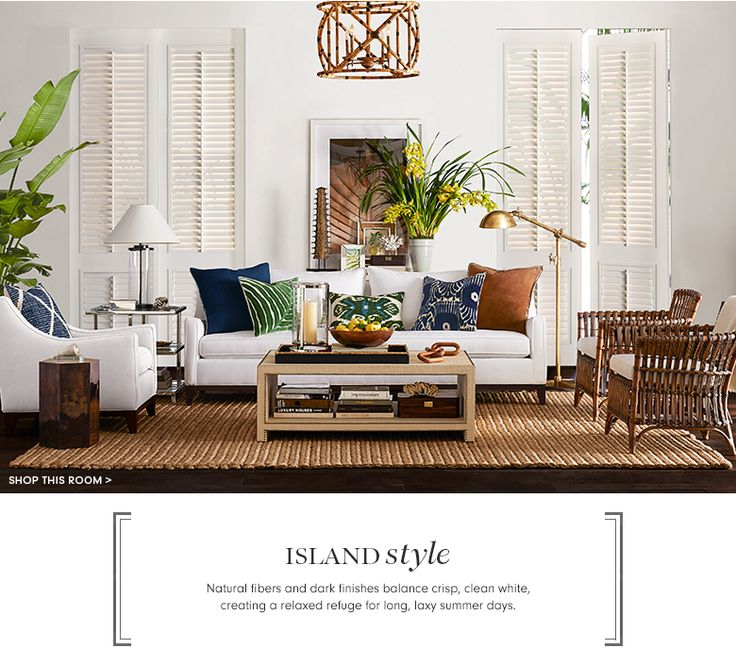 Island Style Living Room - Liked @ Homescapes Home Staging www.homescapes-sd.com #contemporarydesign #whitelivingroom #williams-sonoma designs
