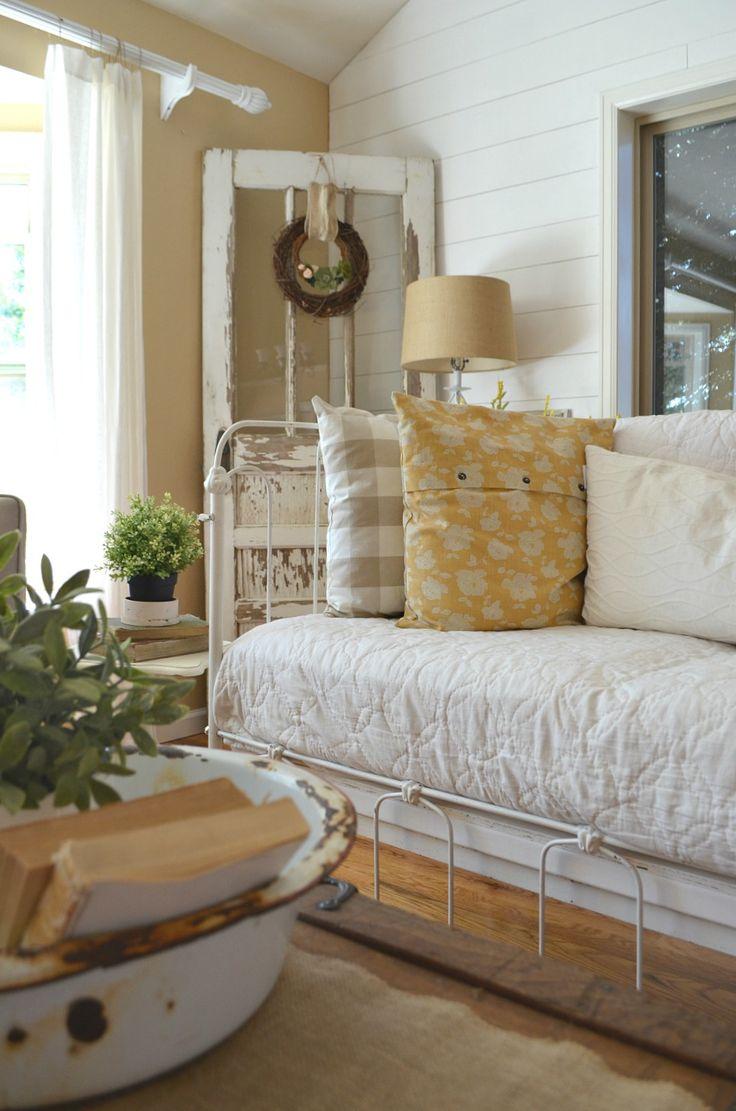 Vintage Crib converted into Couch. Farmhouse decor ideas