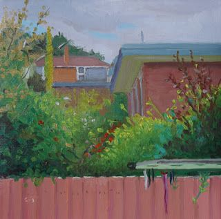 """Neighbouring Gardens Under Cloudy Skies by Charmaine P Jackson Oil on 6""""x6"""" linen"""