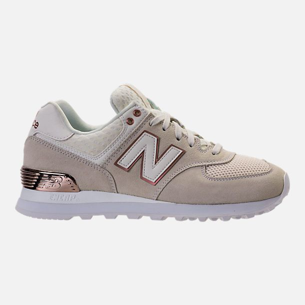 Right View Of Women S New Balance 574 Rose Gold Casual Shoes In Sea Salt Rose Gold Nike Shoes For Sale New Balance Shoes Rose Gold New Balance