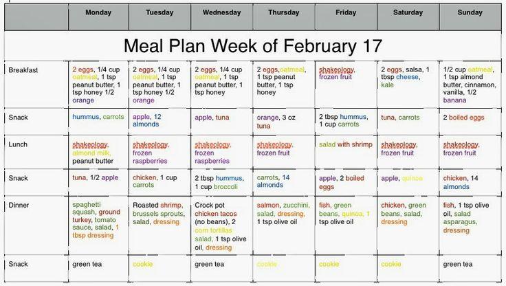 21 Day Fix Week 1 Meal Plan | Weight less | Pinterest | 21 ...