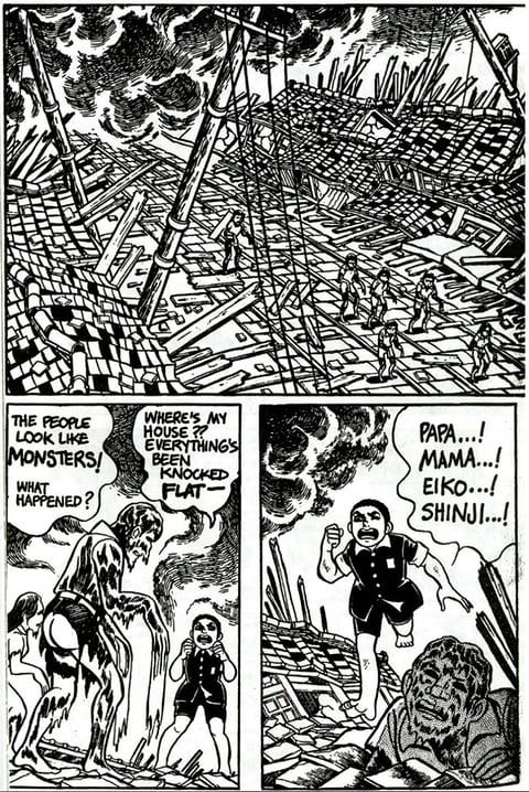 Barefoot Gen: a Japanese manga series that ran from 1973 to 1985, portraying the experiences of six-year-old Gen in and around Hiroshima in the aftermath of the atomic bombing.  Illustration: Keiji Nakazawa, translation by Project Gen