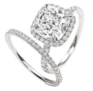 Perfection... Cushion cut with halo and  Diamond Band. The inspiration behind my custom ring.