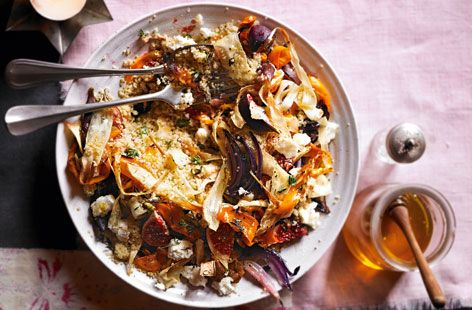 salad, packed with root veg, roasted figs and goats' cheese: it's quick to make and delicious to eat.