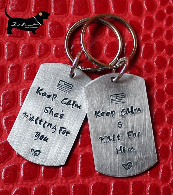 His & Hers Double Sided Deployment Keychains  by TheSadBasset. , via Etsy.