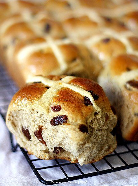 Hot Cross Buns Made these for Easter. They were absolutely delicious. A bit of work, but well worth the effort. Even my English friend said they were delicious:) VK