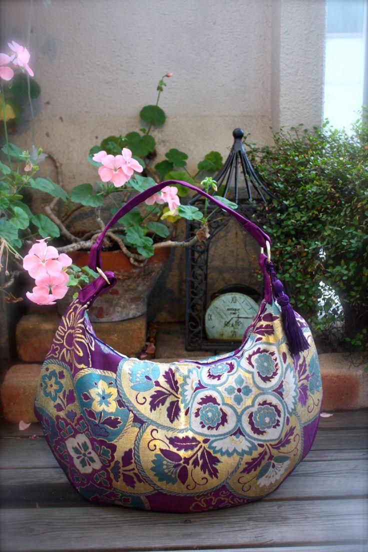 Obi / Kimono / Bag /PP791 Beautiful Antique Purple Obi Crescent Bag Large Size…