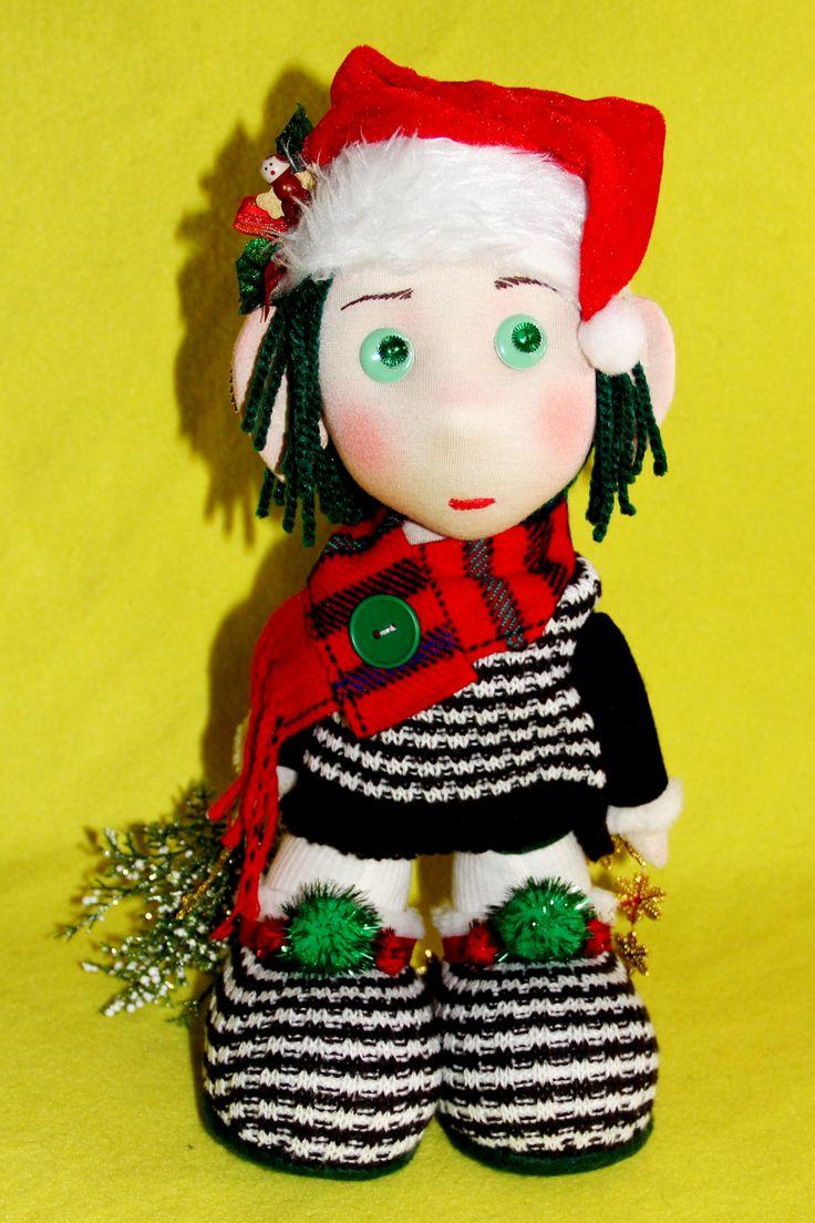 "Christmas Elf Boy Doll $95.50 Total Height~36cm~14.1"" Head Width~14cm~5.5"" Total Width~18cm~7"""