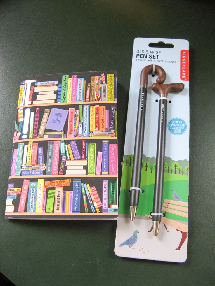 Susan Says: Old & Wise Pen set - two styles of canes, twist and pesto... it's a pen. Over-the-Hill Cool - Grams and Gramps will approve. Pair it with the bookshelf notebook - it's soft covered, very colourful, lined pages, a dynamic-duo opportunity.  Available at Best of Friends Gift Shop in the lobby of Winnipeg's Millennium Library. 204-947-0110 info@friendswpl.ca