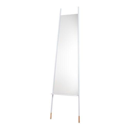 Materiaal: spiegelglas in een gepoedercoat stalen frame. Rubberhouten voetjes