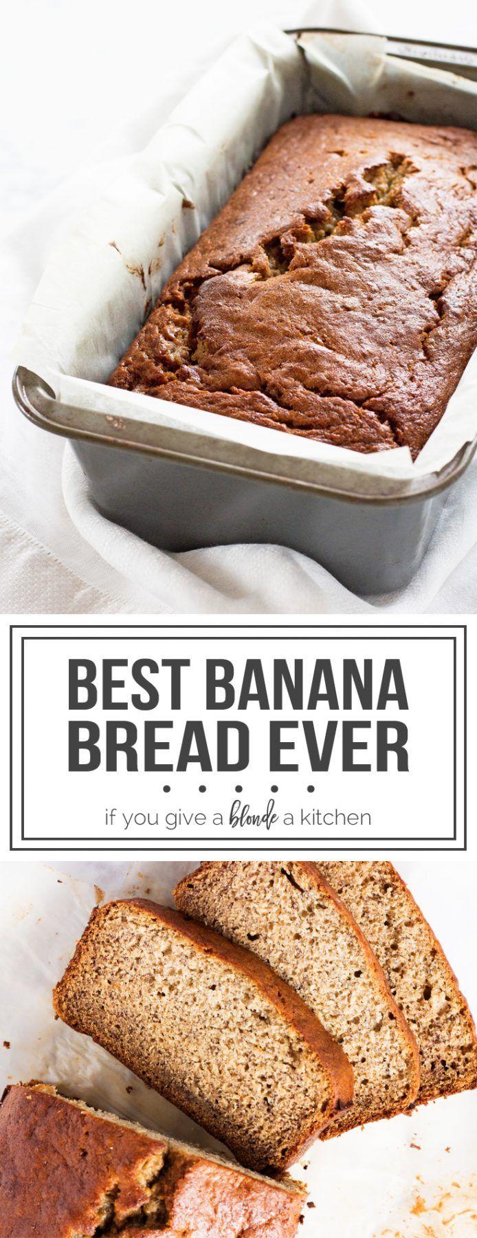 Recipe for best banana bread ever! Moist, tender and full of banana flavor. | www.ifyougiveablondeakitchen.com