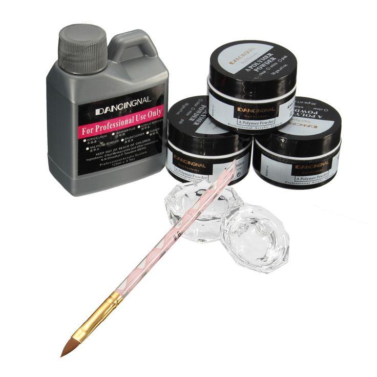 Professional 120ml Nail Acrylic Powder Liquid Pen Dish Set Art Nails Tips DIY Design Kit Beauty Tools