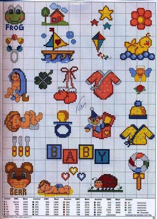patrones baberos punto cruz (4) | Aprender manualidades es facilisimo.