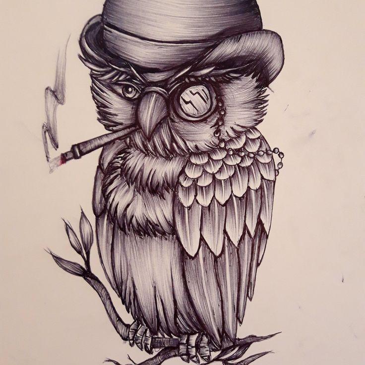 hiboux old shool tatouage tattoo dessin