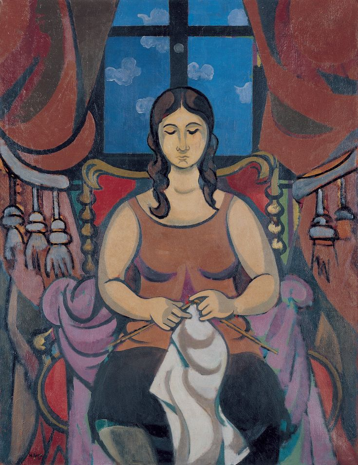 Nurullah Berk, (1906-1982) Woman Knitting, 1981 Oil on canvas 116 x 89 cm. İstanbul Modern Collection / Boyner Holding Donation