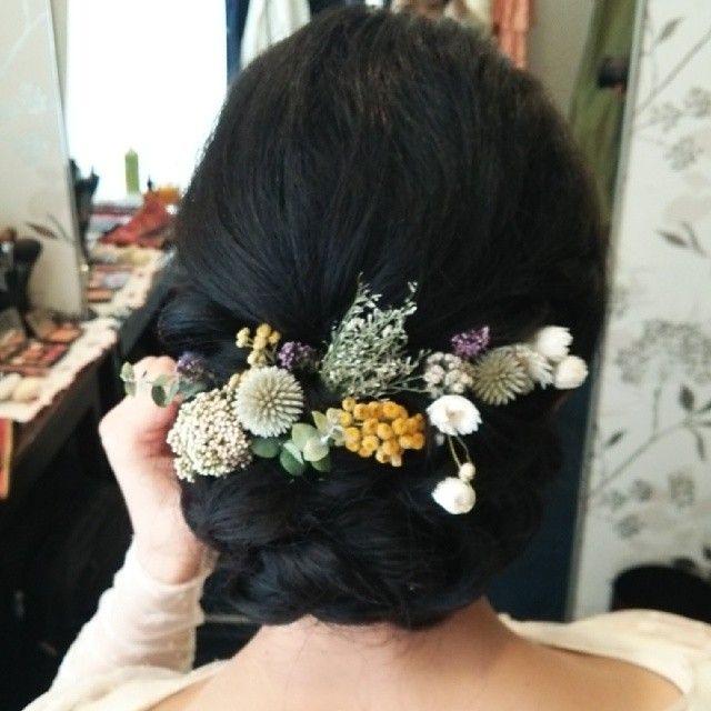ドレス、小物すべて新婦さん手作り!可愛かったー(≧▽≦) #ヘアアレンジ#ヘアセット#ヘア#hair#手作りウェディング#ブリザーブドフラワー#アンティーク#wedding#ブライダル#bridal#レトロ#クラシカル#ハンドメイド#結婚式#花嫁#髪型#黒髪