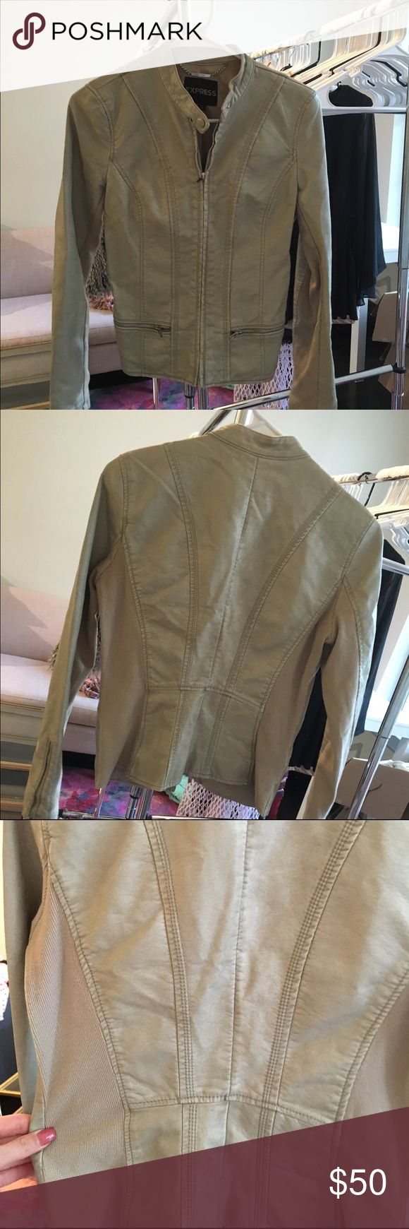 Express leather jacket Light tan leather jacket from Express. Worn a few times. 3rd picture above shows the true color better. Great condition! Express Jackets & Coats