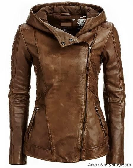 Brown women leather jacket | helmet