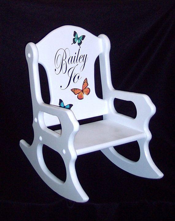 Silla niños regalo niño mecedora personalizada con mariposas | Etsy