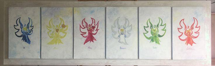 Carmen Alicia Navarro  Arcangeles de acuerdo con el círculo de luz y color Homenaje a Silke Bader Acrilico sobre lienzo