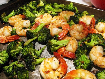 Oven Roasted Broccoli and Shrimp.