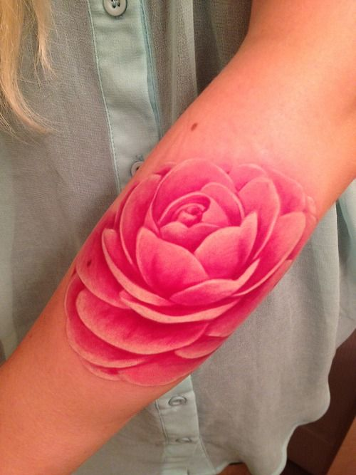Pink realistic rose tattoo by Rob Chambers from The Ink Spot located in Ottawa, Ontario, Canada
