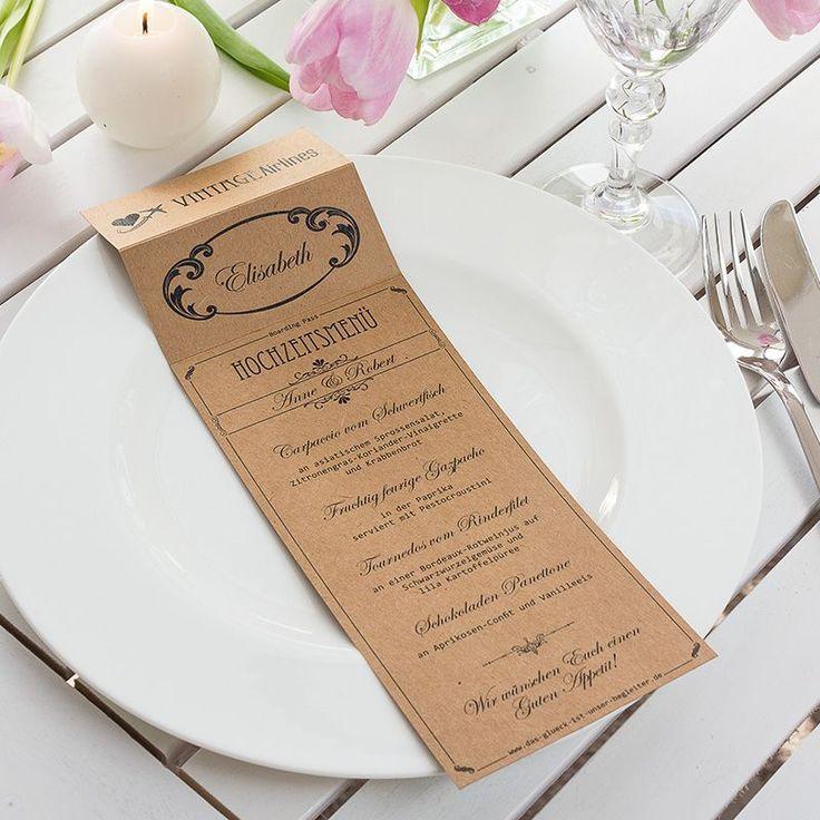 Menü- und Tischkarte Vintage Boarding Pass