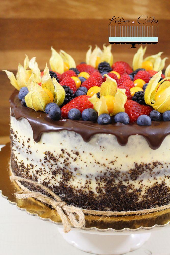Maková torta s ovocím - Poppy Seed Cake with Fruits (without Flour)