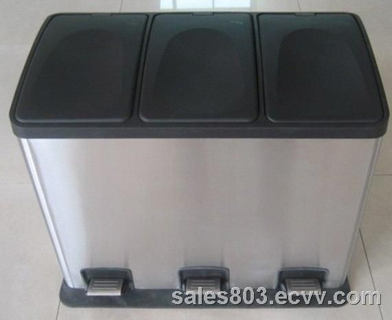 3 Compartment Pedal Bin 3 Compartment Trash Can With Pedal