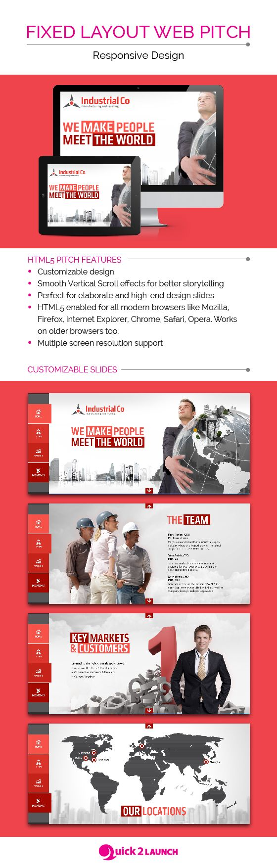 Responsive presentation design template, ideal for online pitches. Presentation design layout. Inspirational presentation design samples.  Visit us at: www.sodapopmedia.com #PresentationDesign #Presentation #Multimedia #Interactive