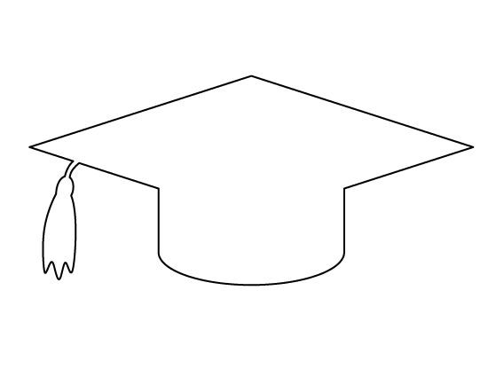 Graduation cap pattern. Use the printable outline for crafts, creating stencils, scrapbooking, and more. Free PDF template to download and print at http://patternuniverse.com/download/graduation-cap-pattern/